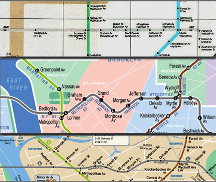 The L Line comparison (from the top): the Vignelli Map, the Kick Map, the current MTA Map
