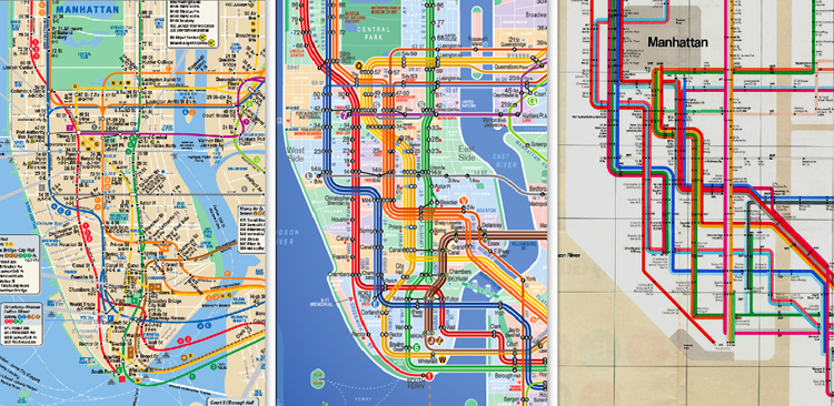 A comparison from left to right of the current MTA map, the Kick Map, and Vignelli's map